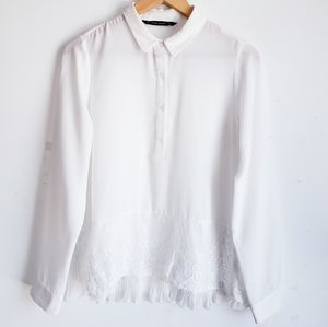 Zara Pleated Sheer White Top Size Large.